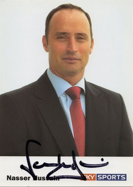 Nasser Hussain, England, signed 6x4 inch promo card.